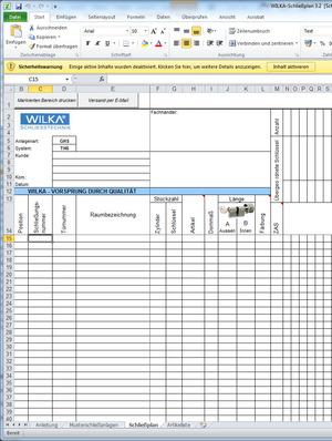 Excel Schliessplan Vordruck Wilka